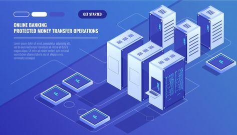 Download Big Modern Data Center, Server Room, Cloud Data Storage Files Service for free