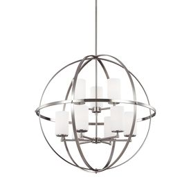 Sea Gull Lighting Alturas 32.5-In Brushed Nickel Single Etched Glass O