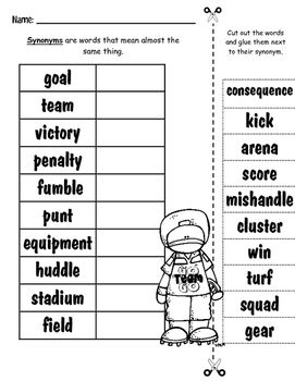Football Themed Common Core And More Activity Sheets Dictionary