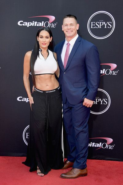 Wrestlers Nikki Bella and John Cena attend the 2017 ESPYS.