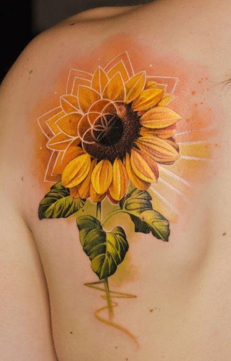 Sunflower Mandala Tattoo, Watercolor Sunflower Tattoo, Sunflower Tattoo Sleeve, Sunflower Tattoos, Sunflower Tattoo Design, Watercolor Tattoo Sleeve, Small Watercolor Tattoo, Watercolour Tattoos, Realistic Flower Tattoo
