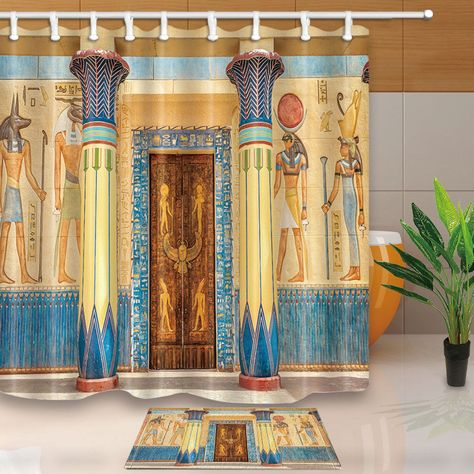 9 99 Ancient Egyptian Temple Waterproof Polyester Fabric Shower