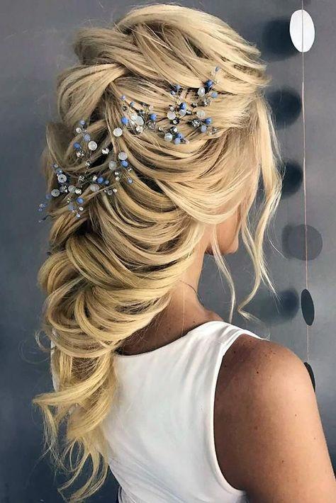 33 Wedding Hairstyles With Hair Down ❤ wedding hairstyles down long blonde hair cascading hair with blue accessory t_samaluk #weddingforward #wedding #bride #weddinghairstyles #weddinghairstylesdown #HairStylesMedium  #HairStyles2020  #HairStylesDrawing
