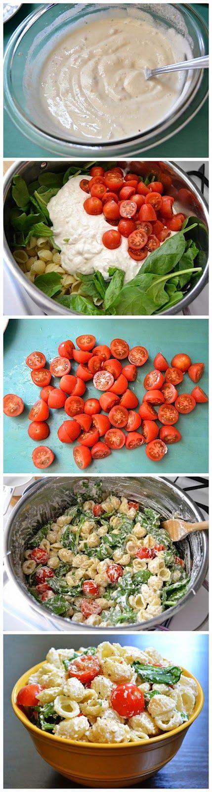 Roasted Garlic Pasta Salad: head of garlic, ricotta, cherry tomatoes, spinach…