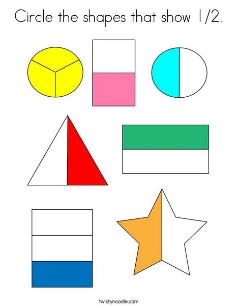 Circle The Shapes That Show 1 2 Coloring Page Twisty Noodle Preschool Math Games Fraction Activities Math Fractions Fractions of shapes worksheets pdf