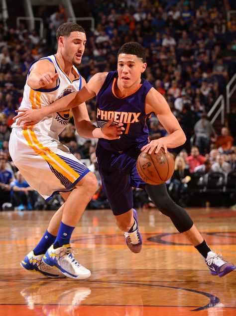 Devin Booker and Klay Thompson are playing on 2/10/16. Suns loss to Warriors 104-112. Barry Gossage #SunsVsWarriors