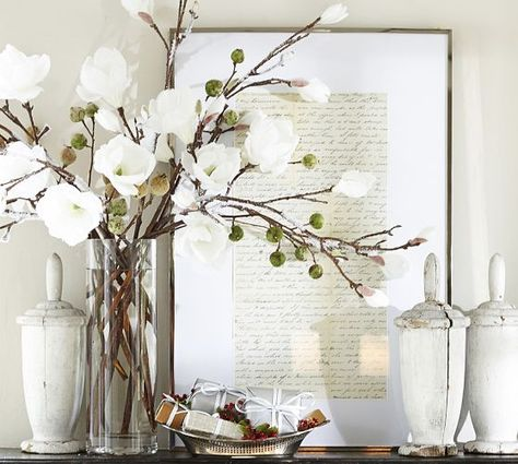 Faux Flocked Magnolia Stem Pottery Barn