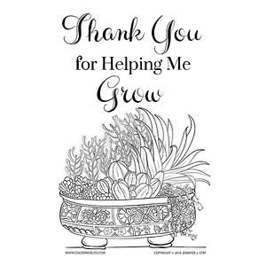 Thank You For Helping Me Grow Coloring Pages Mothers Day