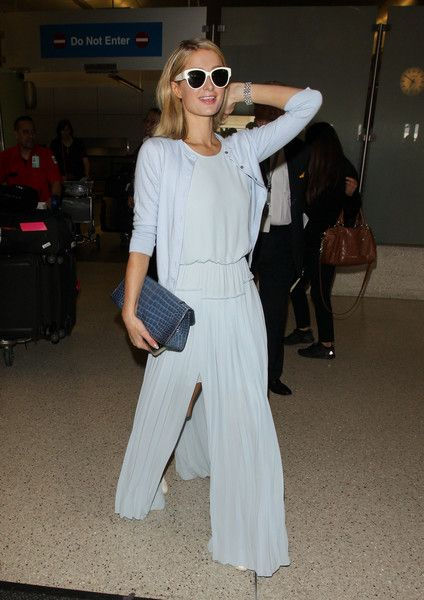 Paris Hilton is seen at LAX in Los Angeles, California.