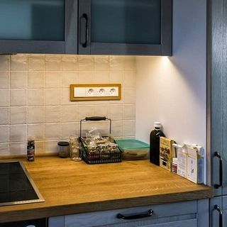 Interrupteur Triple Prise Courant Rectangle Bois Hetre Credence Cuisine Ecoome Decente Appartements Modernes Interieur Contemporain Credence Cuisine