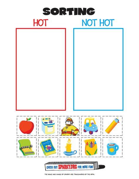 """Hot or Not"" Fire Worksheet- For Fire Prevention/Safety Week (Preschool) Preschool Themes, Preschool Lessons, Preschool Rules, Preschool Class, Fire Safety Week, Preschool Fire Safety, Fire Safety Crafts, Fire Safety For Kids, Fire Kids"