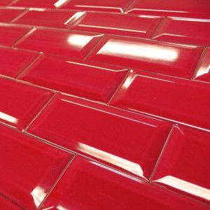 Carrelage Mural Metro Rouge Brillant Carrelage Metro Cuisine Carrelage Mural Carrelage Rouge