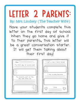 Back to School FREEBIE! {Letter to Parents} - The Teacher Wife