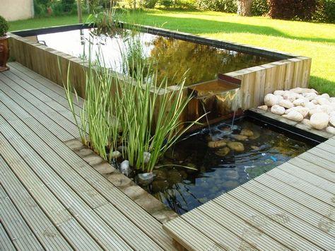 bassin de jardin avec terrasse en bois