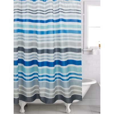 Famous Home Hip Stripe Shower Curtain In Blue Striped Shower
