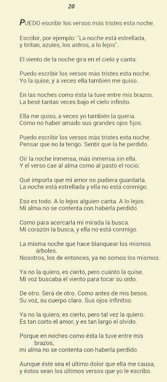 Pablo Neruda. Puedo escribir los versos más tristes esta noche.