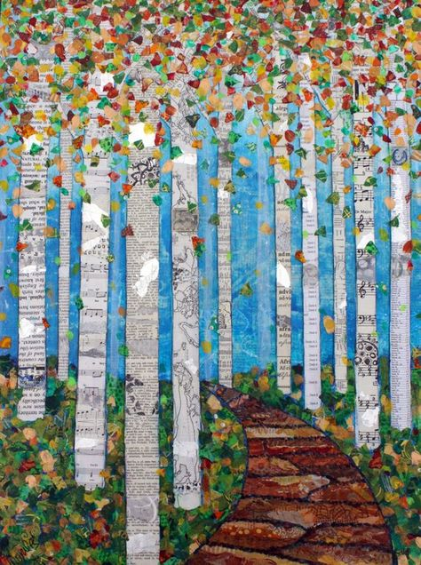 Ähnliche Artikel wie Falling Leaves - Mixed Media Collage Print - Various Sizes - Tree Art - Nature Art - Birch Trees - Aspen Trees -Lisa Morales auf Etsy