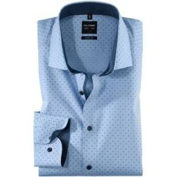Shirts with extra long sleeves for men- Hemden extra langer Arm für Herren Olymp Level Five shirt, body fit, extra long arm, bleu, 43 Olympus -