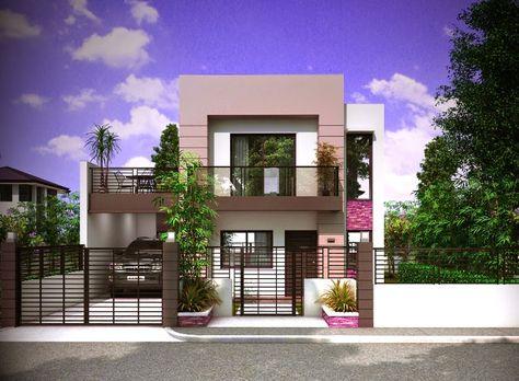 tampak depan model rumah mewah minimalis 2 lantai | denah