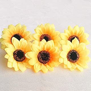 Hauserlin 100pcs 3 1 Artificial Silk Sunflower Heads Yellow Sunflowers Bulk Small Fake Sun Flowers For Decorations Wedding Birthday Baby Shower Party Artificia