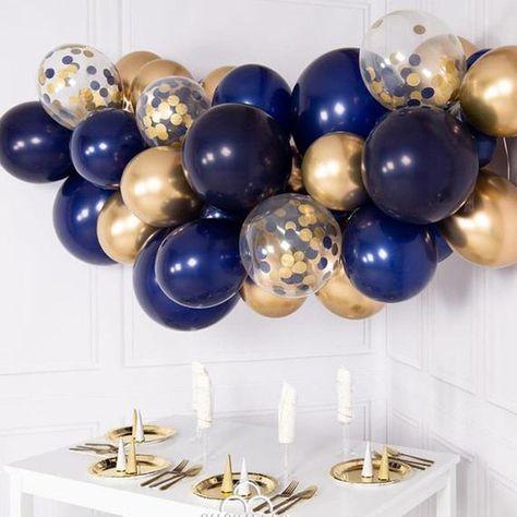 Navy and Gold Balloon Garland Kit - DYI 55 piece set - Balloon Decorations 🎈