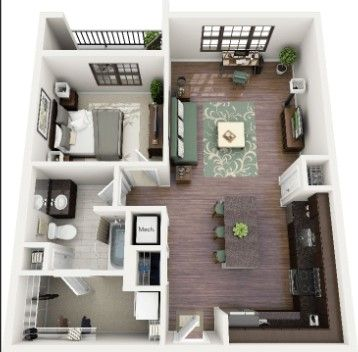 Icymi 1 Bedroom Apartments With Garage For Rent Small House Blueprints 2 Bedroom Apartment Floor Plan Apartment Layout