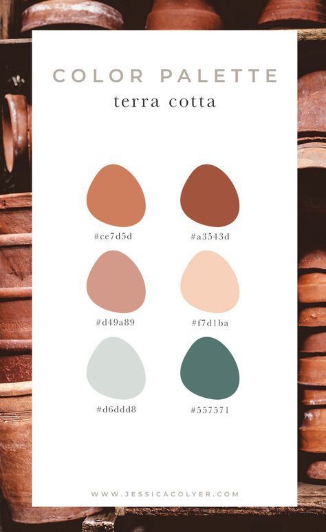 Colour palette in terra cotta tones and colours will help you designing your home