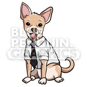 Chihuahua Suit Vector Cartoon Clipart Illustration Dog Artwork