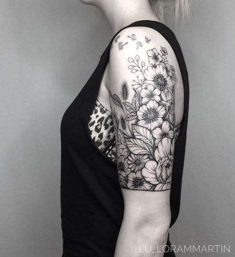 Image Result For Black And White Wildflower Tattoo Moden Achrichten Sleeve Tattoos For Women Tattoos For Women Sleeve Tattoos