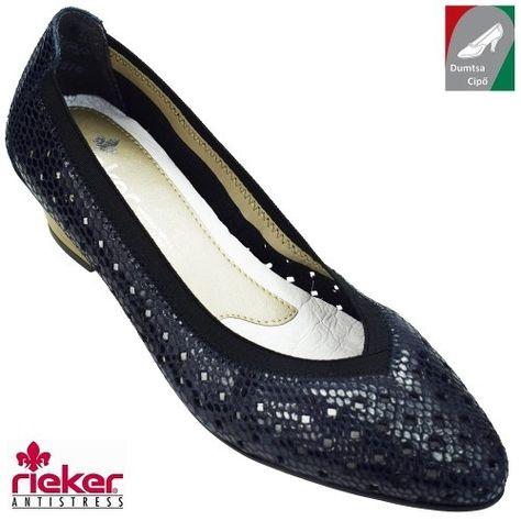 Rieker női bőr cipő 58065-14 sötétkék  d17af42571