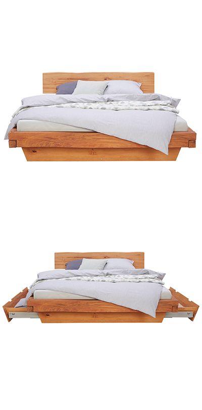 Balkenbett In Holz Buchefarben Bett Holz Und Holzbett
