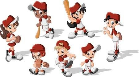 Cartoon Children Wearing Baseball Uniform In 2020 Baseball Uniform Cartoon Character Design