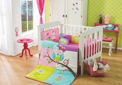 Lambs /& Ivy Family Tree Pink//Gray Owl 6-Piece Nursery Baby Crib Bedding Set