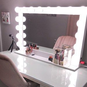 Hollywood Lighted Vanity Mirror Large Makeup With Etsy Lights