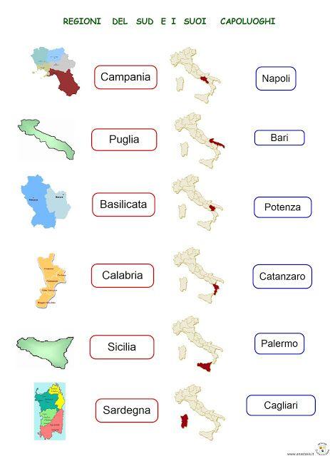 Cartina Muta Italia Regioni E Capoluoghi Da Stampare.Paradiso Delle Mappe Regioni Del Sud E I Suoi Capoluoghi Mappa Dell Italia Attivita Geografia L Insegnamento Della Geografia