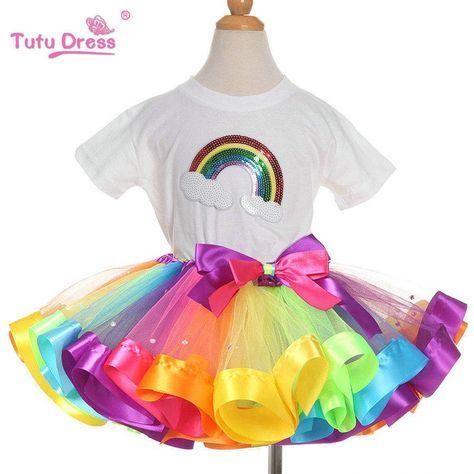 926a6de7c Conjuntos de ropa de verano para niñas Arco Iris Casual algodón de manga  corta Camiseta + arcoíris tutú faldas Niños Niñas Ropa unids 2 piezas  conjunto