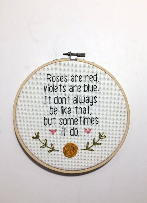 Roses are red, Violets are blue. Cross Stitching, Cross Stitch Embroidery, Embroidery Patterns, Hand Embroidery, Cross Stitch Designs, Cross Stitch Gallery, Funny Cross Stitch Patterns, Cross Stitch Quotes, Red Roses