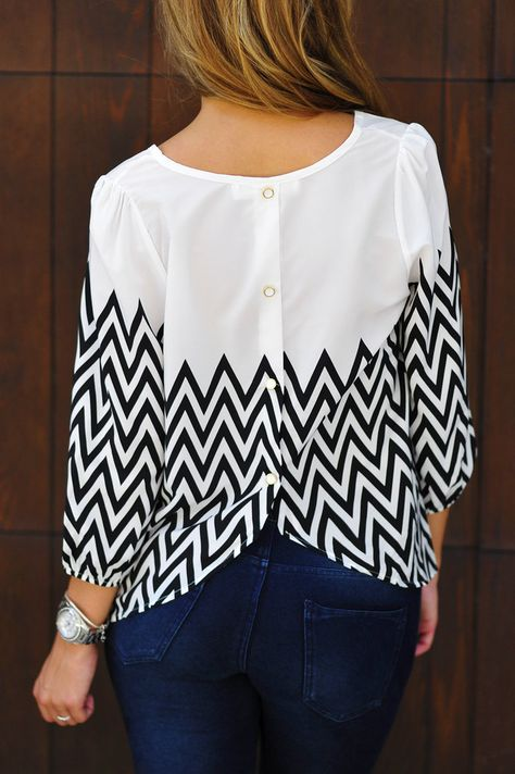 Stitch Fix Stylist - Want this chevron top!  Love how it's half plain and half print. Also love 3/4 length tops.