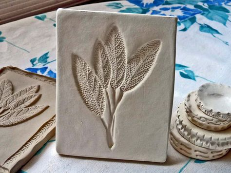 Clay Stamp Sage Leaf Pottery Press Mold Relief Mold or Sprig Mold Bisque Clay Herb Stamp for Ceramic Decoration and Texture via Etsy