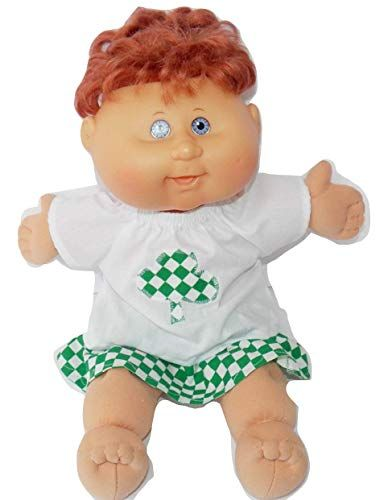 Cabbage Patch Doll Clothes Fits 14 Inch Kids Doll or Preemie Denim Appliqued Skirt Set