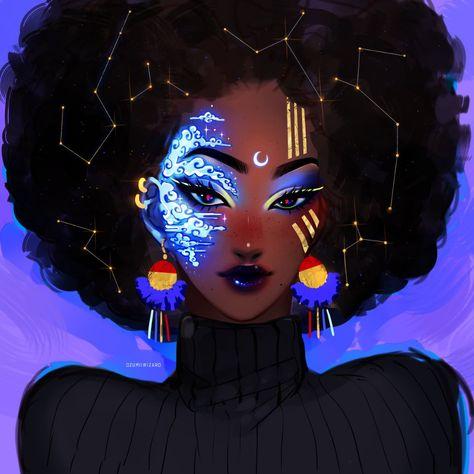 Celestial Art Print by Ozumii_Wizard - X-Small Black Love Art, Black Girl Art, Cartoon Kunst, Cartoon Art, Fantasy Kunst, Fantasy Art, Arte Black, Black Girl Cartoon, Afrique Art