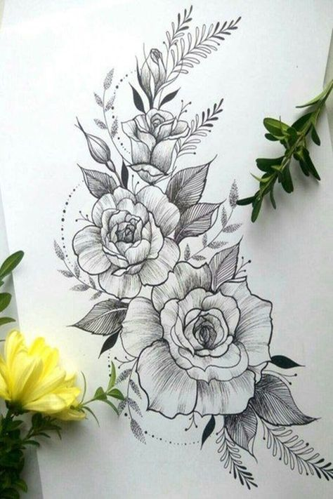 40 Easy Flower Pencil Drawings For Inspiration - Tattoos - Tatuajes Beautiful Flower Drawings, Pencil Drawings Of Flowers, Flower Tattoo Drawings, Flower Tattoo Designs, Beautiful Tattoos, Drawing Flowers, Rose Drawing Tattoo, Rose Drawings, Floral Drawing