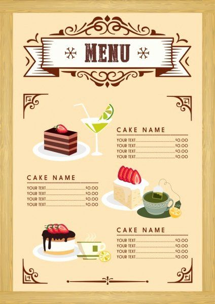 Free Dessert Menu Template Unique Dessert Menu Template Cake Beverages Icons Classical Desserts Menu Menu Card Design Menu Design Template