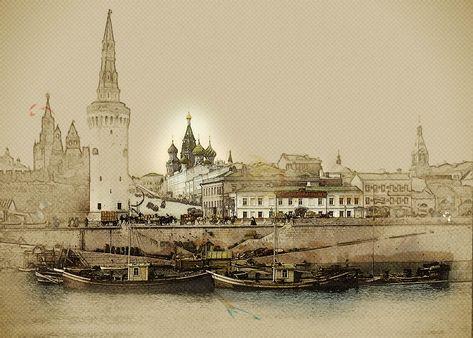 Moscow Russia Kremlin Boats People 1890 Original Art Photo Print