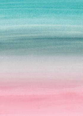 Pink Teal Watercolor 1 Metal Poster Print Anita S Bella S Art Displate Iphone Wallpaper Lights Teal Wallpaper Iphone Ombre Wallpaper Iphone