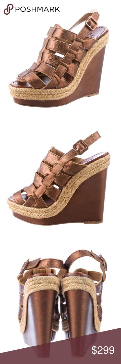 Christian Louboutin Wedges Christian Louboutin  leather metallic brown and tan woven trim. Very good condition. Wear at soles. Christian Louboutin Shoes Wedges