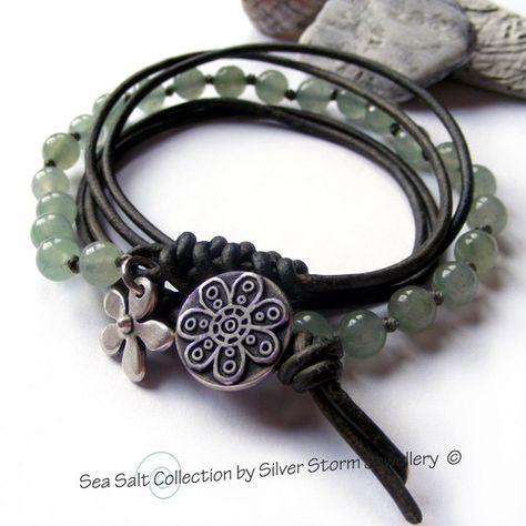 Wrap Bracelet Leather Wrap Bracelet Boho by SilverStormJewellery