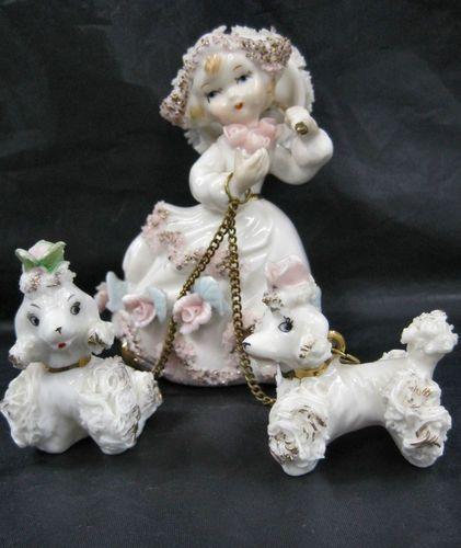 Royal Sealy Spaghetti Poodle Dog Dutch Girl Roses Figurine Ceramic Vintage | eBay