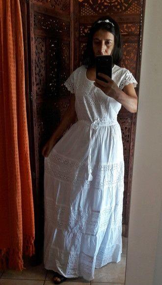 4906abb7cff8 vestido longo tecido algodão laise lese renda guipir tam m | Atelier ...