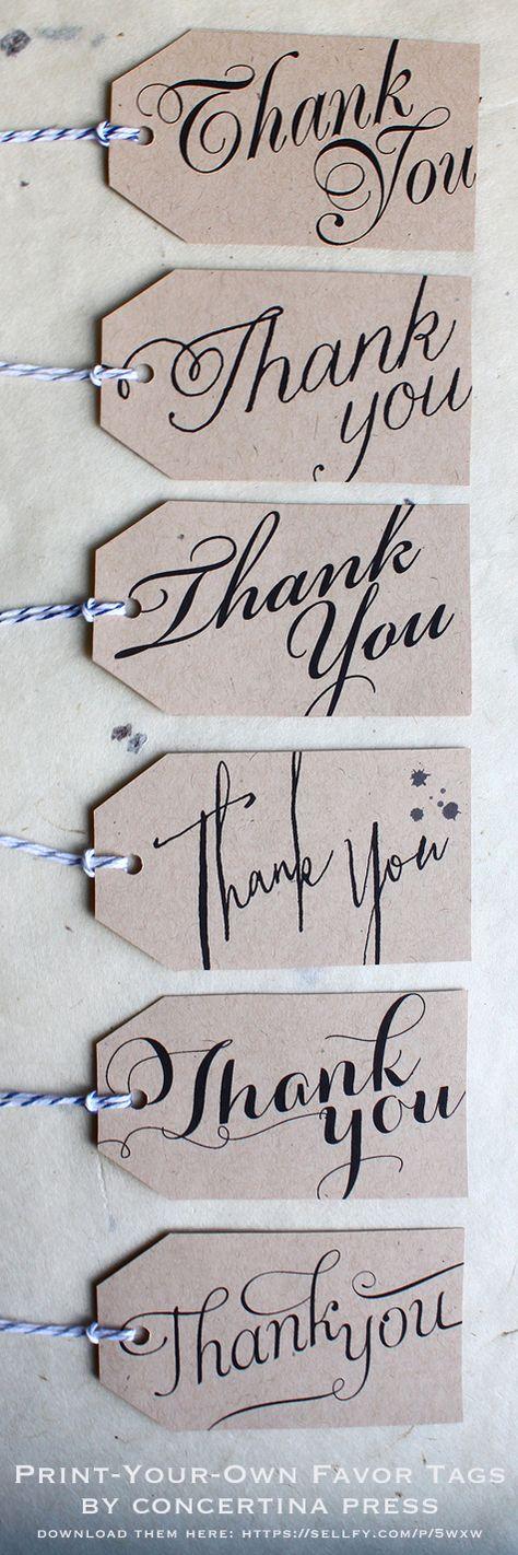 "pretty #DIY printable ""thank you"" tags - great for #weddings!"